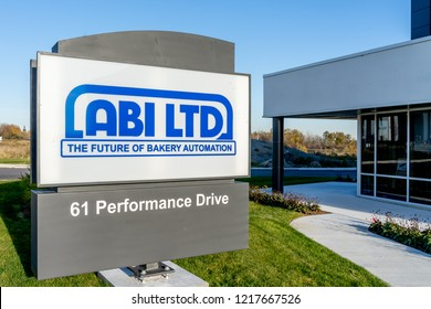 Richmond Hill, Ontario, Canada - October 30, 2018: Sign of ABI LTD. ABI LTD is a global integrator of automated bakery equipment.