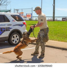 Richmond, KY US - March 31, 2018- Easter Eggstravaganza - A K9 Officer with Richmond Police Department demonstrates K9 techniques and training exercises to a crowd at a local Easter Event