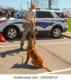 Richmond, KY US - March 31, 2018 - Easter Eggstravaganza A K9 Officer demonstrates canine techniques and training exercises with his K9 for a crowd, Mallinois bite dog, back towards the camera