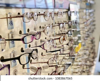 RICHMOND, LONDON - MAY 3, 2018: Designer eyeglasses on sale at Boots the Opticians in Richmond, West London, UK.