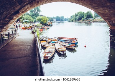 Richmond, London, United Kingdom - August 16, 2016. Inside out view of Rowing boats for rent under Richmond bridge  at  the river Thames, London, United Kingdom.