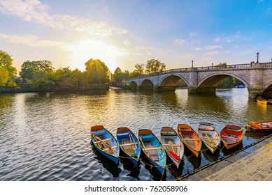 Richmond Thames riverfront with boats in London