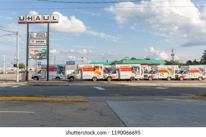 Richmond VA - September 17, 2017:  U-Haul trucks lined up available to rent
