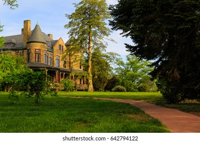 Richmond Va USA April 2017. Mansion at Maymount Park. Park features water falls, trees, fountains, walking paths, gardens and statures. Taken at sunset. Historic home donated to the city.