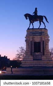 Richmond, VA, USA April 3, 2006 A statue of Confederate General Robert E Lee stands against the sunset.  The statue, in Richmond Virginia has sparked controversy regarding the Confederacy.
