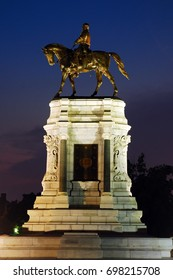 Richmond, VA, USA June 21, 2012 a statue of Confederate General Robert E Lee on horseback stands along historic Monument Avenue in Richmond, Virginia