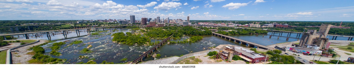 RICHMOND, VA,USA - JUNE 29, 2017: Aerial drone photo of Downtown Richmond VA and James River landscape