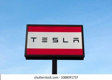Richmond, VA/USA - May 2 2018:Tesla Sign at a Tesla Dealership