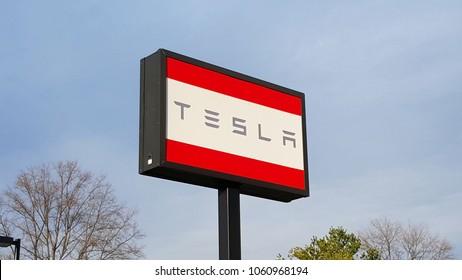 Richmond, VA/USA-April 1, 2018:Tesla Sign at a Tesla Dealership