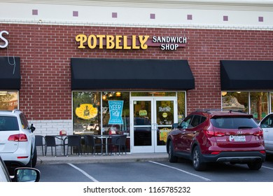 Richmond VA/USA-May 2, 2018:Potbelly Sandwich Shop store front. Potbelly Sandwich shop is a casual restaurant chain with over 400 sandwich shops located worldwide.
