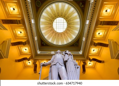 Richmond, Virginia - Feb 19, 2017: Monument to George Washington in the rotunda in the Virginia State Capitol in Richmond, Virginia.