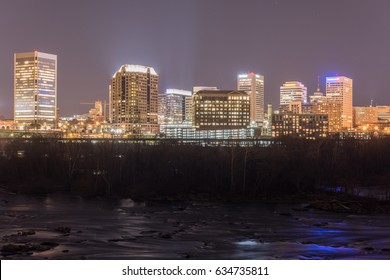Richmond, Virginia - Feb 19, 2017: Panoramic skyline view of Richmond, Virginia at night.