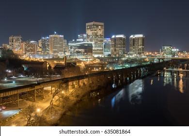 Richmond, Virginia - Feb 19, 2017: Richmond, Virginia skyline overlooking the James River.