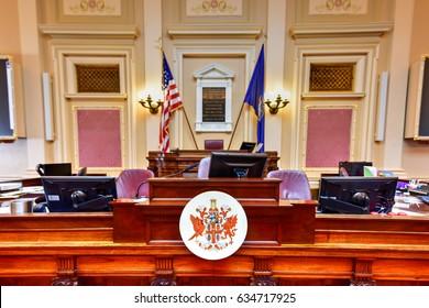 Richmond, Virginia - February 19, 2017: Old House Chamber in the Virginia State Capitol in Richmond, Virginia.
