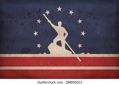 Richmond ,Virginia flag on fabric texture,retro vintage style