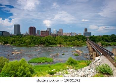 Richmond Virginia flood wall overlooking the James River.