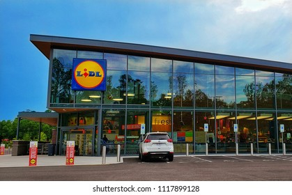 Richmond, Virginia - June 21, 2018: Lidl grocery stores have been expanding their footprint in the area and driving food prices down.