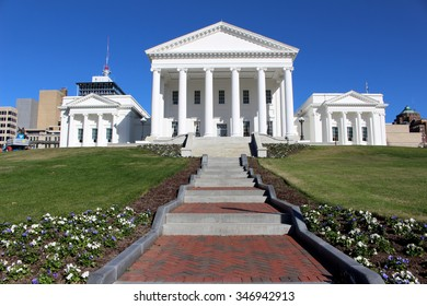 RICHMOND, VIRGINIA - NOVEMBER 26, 2015: The Virginia Capitol constructed in the monumental Classical style is home to the General Assembly in Richmond Virginia.