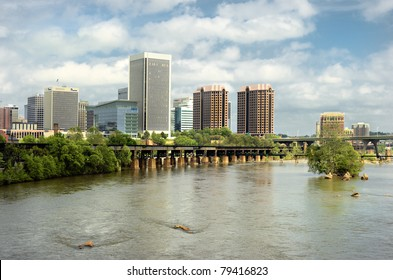 Richmond Virginia Skyline city on the James River/ Richmond on the James/River City