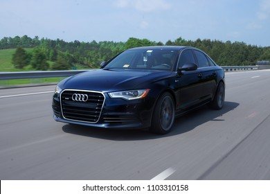 Richmond, Virginia / United States - April 29, 2017: Audi A6 Rolling Shot Down the Highway