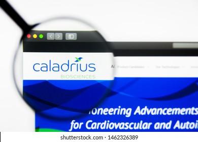 Richmond, Virginia, USA - 26 July 2019: Illustrative Editorial of Caladrius Biosciences Inc website homepage. Caladrius Biosciences Inc logo visible on display screen.
