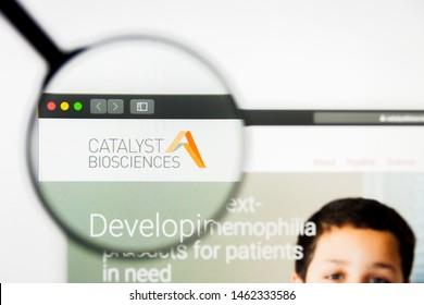 Richmond, Virginia, USA - 26 July 2019: Illustrative Editorial of Catalyst Biosciences Inc website homepage. Catalyst Biosciences Inc logo visible on display screen.