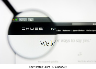 Richmond, Virginia, USA - 27 July 2019: Illustrative Editorial of Chubb Limited website homepage. Chubb Limited logo visible on display screen.