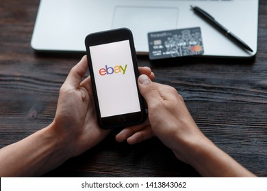 Richmond, Virginia, USA -30 May 2019: Close up of ebay app on a Apple iPhone screen. ebay is one of the largest online auction and shopping websites.