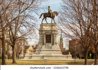 Richmond, Virginia / USA - 3/7/2019: Robert E. Lee monument.  The Commanding General of the Confederate Army during the civil war.  Monument faces south that represents he survived the war.