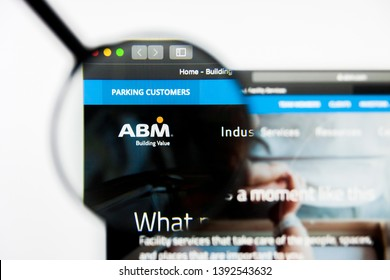 Richmond, Virginia, USA - 8 May 2019: Illustrative Editorial of ABM Industries Incorporated website homepage. ABM Industries Incorporated logo visible on display screen.