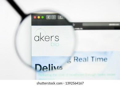Richmond, Virginia, USA - 8 May 2019: Illustrative Editorial of Akers Biosciences Inc website homepage. Akers Biosciences Inc logo visible on display screen.