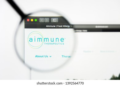 Richmond, Virginia, USA - 8 May 2019: Illustrative Editorial of Aimmune Therapeutics Inc website homepage. Aimmune Therapeutics Inc logo visible on display screen.