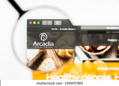 Richmond, Virginia, USA - 9 May 2019: Illustrative Editorial of Arcadia Biosciences Inc website homepage. Arcadia Biosciences Inc logo visible on display screen.