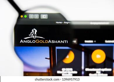 Richmond, Virginia, USA - 9 May 2019: Illustrative Editorial of AngloGold Ashanti Limited website homepage. AngloGold Ashanti Limited logo visible on display screen.