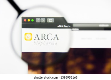 Richmond, Virginia, USA - 9 May 2019: Illustrative Editorial of ARCA biopharma Inc website homepage. ARCA biopharma Inc logo visible on display screen.