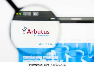 Richmond, Virginia, USA - 9 May 2019: Illustrative Editorial of Arbutus Biopharma Corporation website homepage. Arbutus Biopharma Corporation logo visible on display screen.