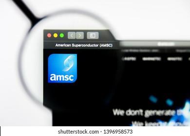 Richmond, Virginia, USA - 9 May 2019: Illustrative Editorial of American Superconductor Corporation website homepage. American Superconductor Corporation logo visible on display screen.