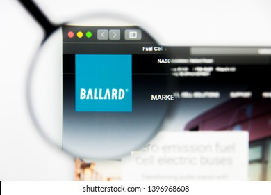 Richmond, Virginia, USA - 9 May 2019: Illustrative Editorial of Ballard Power Systems Inc website homepage. Ballard Power Systems Inc logo visible on display screen.