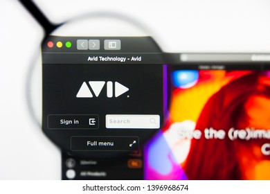 Richmond, Virginia, USA - 9 May 2019: Illustrative Editorial of Avid Technology Inc website homepage. Avid Technology Inc logo visible on display screen.