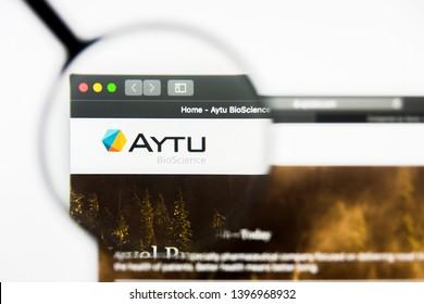 Richmond, Virginia, USA - 9 May 2019: Illustrative Editorial of Aytu BioScience Inc website homepage. Aytu BioScience Inc logo visible on display screen.
