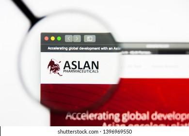Richmond, Virginia, USA - 9 May 2019: Illustrative Editorial of ASLAN Pharmaceuticals Limited website homepage. ASLAN Pharmaceuticals Limited logo visible on display screen.