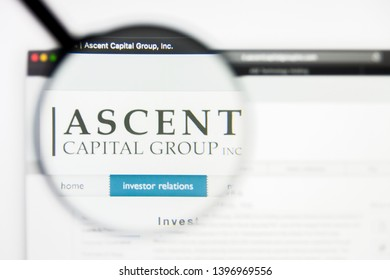 Richmond, Virginia, USA - 9 May 2019: Illustrative Editorial of Ascent Capital Group Inc website homepage. Ascent Capital Group Inc logo visible on display screen.