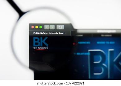 Richmond, Virginia, USA - 9 May 2019: Illustrative Editorial of BK Technologies Corporation website homepage. BK Technologies Corporation logo visible on display screen.