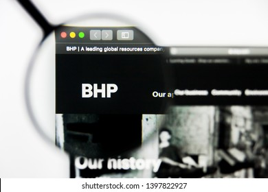 Richmond, Virginia, USA - 9 May 2019: Illustrative Editorial of BHP Group Limited website homepage. BHP Group Limited logo visible on display screen.