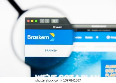 Richmond, Virginia, USA - 9 May 2019: Illustrative Editorial of Braskem SA website homepage. Braskem SA logo visible on display screen.
