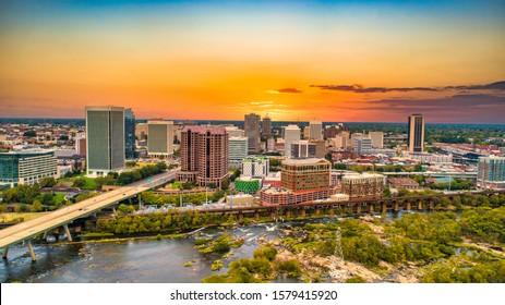 Richmond, Virginia, USA Downtown Drone Skyline Aerial .