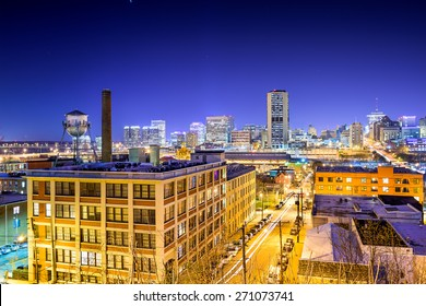 Richmond, Virginia, USA downtown skyline view from Church Hill at night.