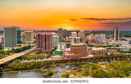Richmond, Virginia, USA Drone Skyline Aerial at Sunset.