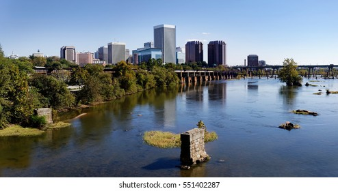 Richmond, Virginia's James River and city skyline.