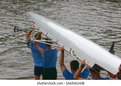 Richmond, Virginia/USA - June 23, 2009: Virginia rowing teams at Rockett's landing in Richmond.